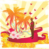 Summer time background. With girl silhouette stock illustration