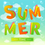 Summer time. Background with bubbles and clouds stock illustration