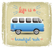 Summer time background with camper van. In retro style Stock Photography