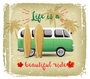 Summer time background with camper van. In retro style Stock Photo