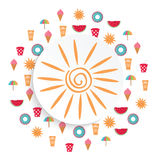 Summer time background with colorful beach elements. Summer beach. Summer print vector illustration