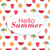 Summer time   background with colorful beach elements in w Royalty Free Stock Photos