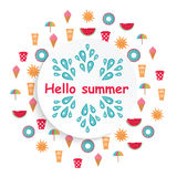 Summer time background with colorful beach elements in wh. Ite background.Summer beach. Summer print stock illustration