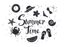 Summer time background with decorative elements Silhouettes in black color Stock Image