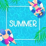 Summer time background design with pool blue water Stock Illustration