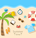 Summer Time Background with Flat Set Colorful Simple Icons Stock Photo