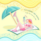 Summer time background with girl on beach Stock Images