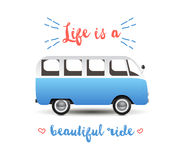 Summer time background with hippie van Stock Images