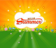 Summer time background with Hot sun lights vector illustration Royalty Free Stock Images