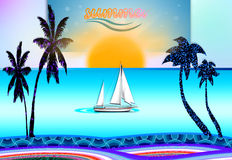 Summer time. Background with  sea and beach and boat Stock Photography