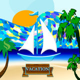 Summer time. Background with  sea and sun and boat Stock Photography
