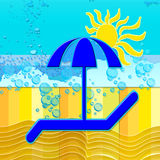 Summer time. Background with  sea and sun and umbrella Royalty Free Stock Images