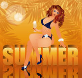 Summer time background with sexual woman. Illustration Royalty Free Stock Photography