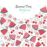 Summer time background slices of watermelon and cherry Royalty Free Stock Photography