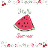 Summer time background slices of watermelon and cherry Royalty Free Stock Photo