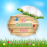 Summer time background with text on wooden board in a grass, flowers and sky. Vector illustration. Royalty Free Stock Photo