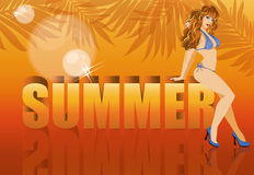 Summer time banner with sensual girl Royalty Free Stock Photography