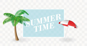 Summer Time banner template. Palm tree and sun umbrella with a transparent place for text. Vector for holiday poster. Stock Photo