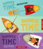 Summer Time  Banners Set Royalty Free Stock Photos