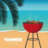 Summer time barbeque on the beach with palm leaf vector illustration