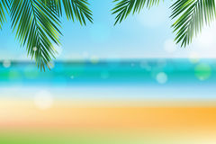 Summer time at the beach with coconut leaf on top Stock Photo