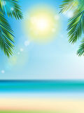 Summer time at the beach with coconut leaf on top vertical Stock Photography