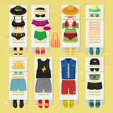 Summer time beach fashion clothes looks design vector illustraton Royalty Free Stock Photos