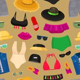 Summer time beach fashion clothes looks design vector illustraton seamless pattern background Stock Image