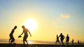 Summer Time Beach Football / Soccer Game (1 of 2) stock footage