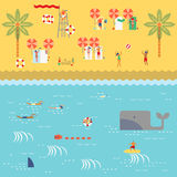 Summer time at the beach. With people swimming,surfing,reading,sunbathing,playing sand,beach ball  and lifeguard in retro vintage map style Stock Images