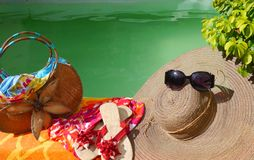 Summer time beach pool sun Holidays sunglasses Royalty Free Stock Photography