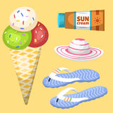 Summer time beach sea shore realistic accessory vector illustration sunshine travel. Summer time beach sea shore realistic accessory vector illustration Royalty Free Stock Photo