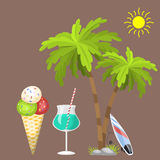 Summer time beach sea shore realistic accessory vector illustration sunshine travel. Summer time beach sea shore realistic accessory vector illustration Royalty Free Stock Image