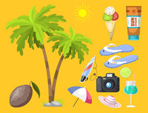 Summer time beach sea shore realistic accessory vector illustration sunshine travel. Summer time beach sea shore realistic accessory vector illustration Stock Images