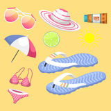 Summer time beach sea shore realistic accessory vector illustration sunshine travel. Summer time beach sea shore realistic accessory vector illustration Royalty Free Stock Images
