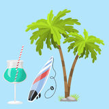 Summer time beach sea shore realistic accessory vector illustration sunshine travel. Summer time beach sea shore realistic accessory vector illustration Stock Photography