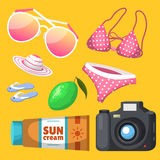 Summer time beach sea shore realistic accessory vector illustration sunshine travel. Summer time beach sea shore realistic accessory vector illustration Royalty Free Stock Photography