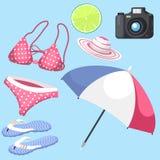 Summer time beach sea shore realistic accessory vector illustration sunshine travel. Summer time beach sea shore realistic accessory vector illustration Royalty Free Stock Photos