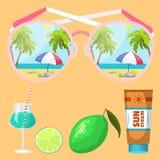 Summer time beach sea shore realistic accessory vector illustration sunshine travel. Summer time beach sea shore realistic accessory vector illustration Stock Photo