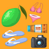 Summer time beach sea shore realistic accessory vector illustration sunshine travel Royalty Free Stock Image