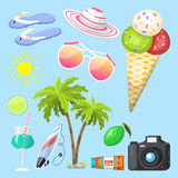 Summer time beach sea shore realistic accessory vector illustration sunshine travel Royalty Free Stock Photo