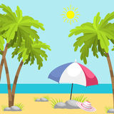 Summer time beach sea shore realistic background vector illustration sunshine travel. Summer time beach sea shore realistic background vector illustration Royalty Free Stock Images
