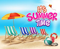Summer Time in Beach Sea Shore with Realistic Objects Royalty Free Stock Photos