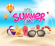 Summer Time in Beach Sea Shore with Realistic Objects. Vector Illustration royalty free illustration