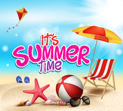 Summer Time in Beach Sea Shore with Realistic Objects. Vector Illustration vector illustration