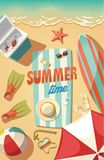 Summer time,beach stuff necessary for vacation Royalty Free Stock Images