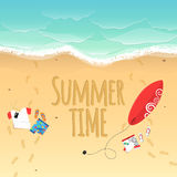 Summer time. On the beach are things. Sand grains. Waves from the sea. Time for surfing. Footprints from the feet on the sand. Res Stock Photography