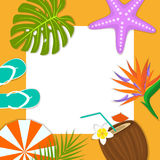 Summer time beach travel frame card background template flip flops, umbrella, coconut drink, bird of paradise flower, flippers, Royalty Free Stock Photo