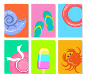 Summer time beach travel minimal cards backgrounds templates with seashell,  flip flops, floating ring, ice cream, female hat, cra Stock Photo