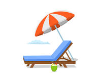Summer time beach umbrella , lounge sun chair scene. Isolated Stock Photos